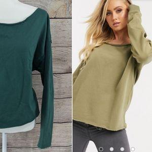 {ASOS} Hunter green off the shoulder sweatshirt